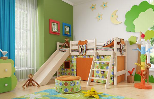 """Кровать низкая """"Соня"""" с наклонной лестницей и горкой Мебельград"""